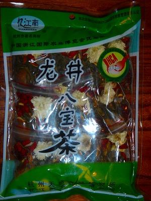 材料 : 龍井緑茶、ハス、菊、紅なつめ、高麗人参、クコ、